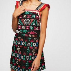 Free People Cozumel Embroidered Mini Dress in M